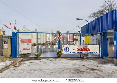 GDANSK, POLAND - JANUARY 30: Entrance to the Gdansk Shipyard, where in August 1980 there was a workers' strikes on January 30, 2011 in Gdansk.
