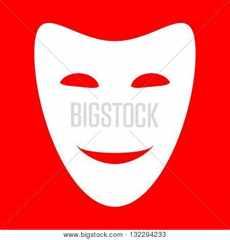 Comedy theatrical masks. White icon on red background.