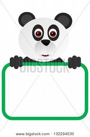 Cute cartoon panda with a blank board