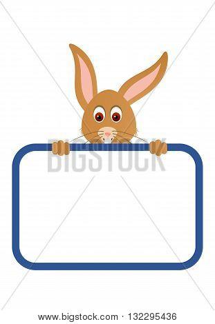 Little cute rabbit with a blank board.