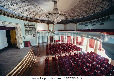 Tskaltubo Georgia - April 24 2015: old cinema in former resort of the Ministry of Defense of the Soviet Union where Joseph Stalin used to spent his vacations. Today it is Tskaltubo Spa Resort hotel.