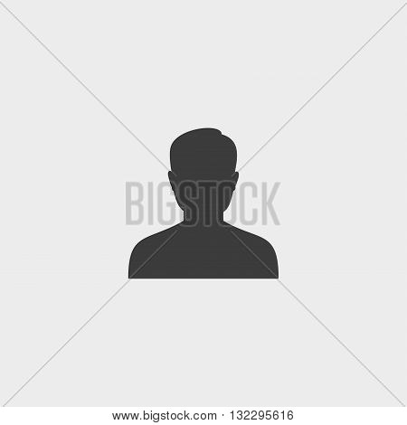 Male user icon in a flat design in black color. Vector illustration eps10