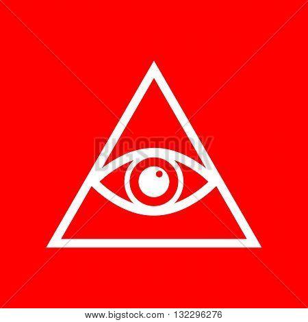 All seeing eye pyramid symbol. Freemason and spiritual. White icon on red background.