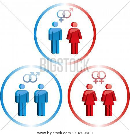 Male and female symbols. Vector illustrations.