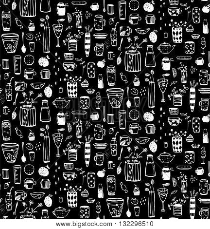 Crockery and dishware hand drawn doodle pattern. Vector background.