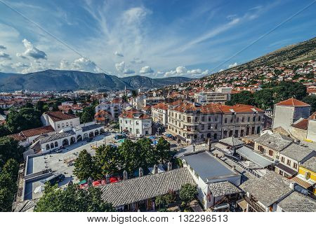 Mostar Bosnia and Herzegovina - August 25 2015. View on Mostar city