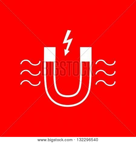 Magnet with magnetic force indication. White icon on red background.