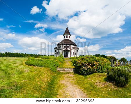 Small wooden evangelical chapel in Korenov, Jizera Mountains, Czech Republic