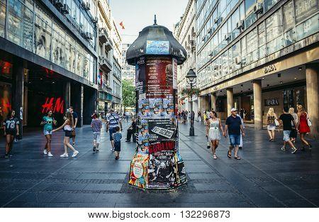 Belgrade Serbia - August 29 2015. People walks at Knez Mihailova (english: Prince Michael) Street in Belgrade city