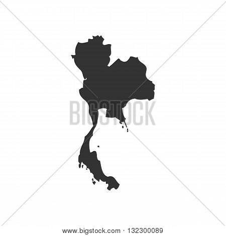 Thailand map slhouette vector illustration isolated on white backgorund.