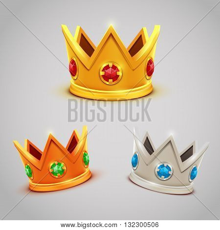 Set of gold silver bronze crowns with jewels. Vector illustration