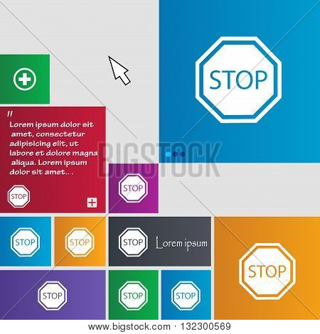 Stop Icon Sign. Buttons. Modern Interface Website Buttons With Cursor Pointer. Vector