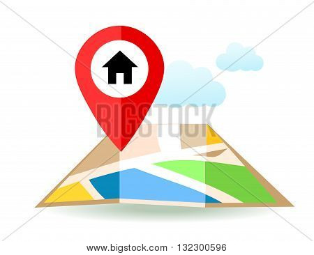 Flat map with home pin. Vector location pointer icon. Markers on the Map.