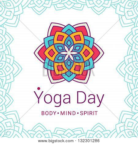 Bright card with Lotus flower. Sample text - Yoga day body and mind and spirit. Vector illustration for yoga event school club invitation spa. Patterned background.