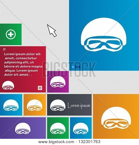 In A Ski Masks, Snowboard Ski Goggles, Diving Mask Icon Sign. Buttons. Modern Interface Website Butt
