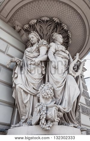 Detail of an old house with sculptures in St. Petersburg Russia