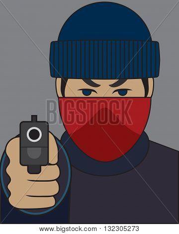 Mugger pointing his gun at intended victim