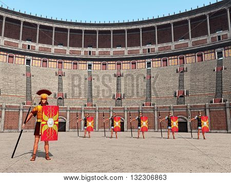 Computer generated 3D illustration with Centurion, legionaries and Colosseum in ancient Rome