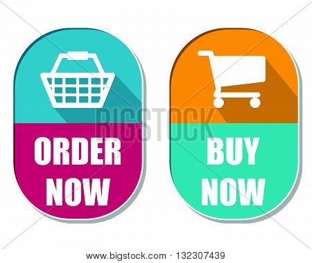 order now and buy now with shopping basket and cart symbols, two elliptic flat design labels with icons, business commerce concept, vector