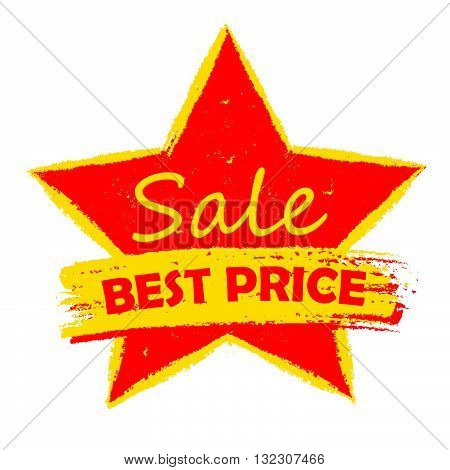 best price sale in star - text in yellow and red drawn label, business shopping concept, vector