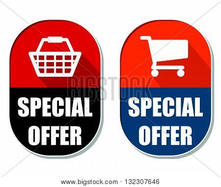 special offer with shopping basket and cart symbols, two elliptic flat design labels with icons, business commerce concept, vector