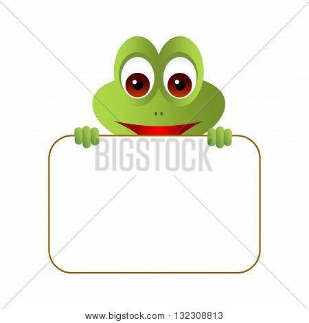 Little cute cartoon frog holding a blank board.
