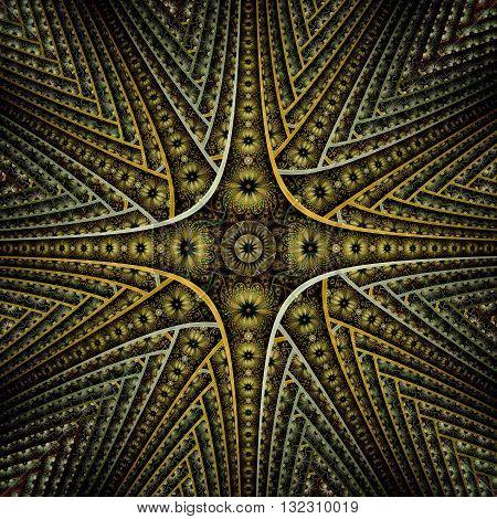 Symmetrical gold and dark blue fractal flower