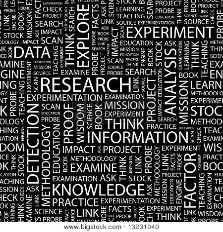 RESEARCH. Seamless vector background. Wordcloud illustration.