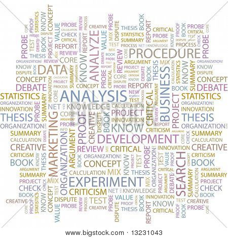 ANALYSIS. Seamless vector pattern with word cloud.