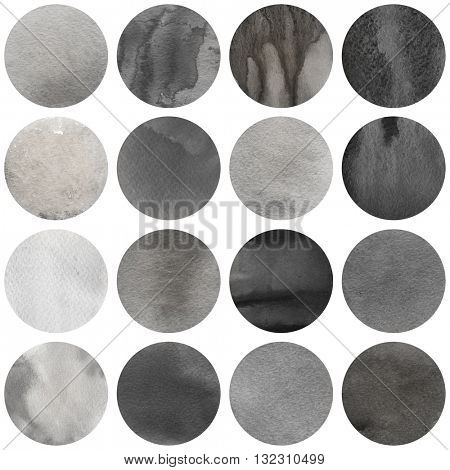 Watercolor circles collection  in black and grey colors. Watercolor stains set isolated on white background. Toned tint palette. Seamless retro geometric pattern.