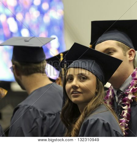 FLAGSTAFF, ARIZONA, MAY 13. Northern Arizona University on May 13, 2016, in Flagstaff, Arizona. A young woman at her Northern Arizona University Commencement 2016.