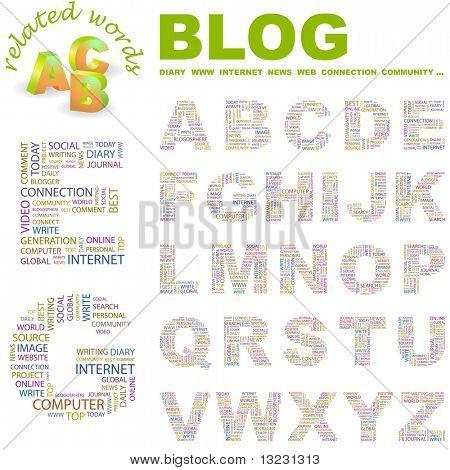 BLOG. Vector letter collection. Wordcloud illustration.
