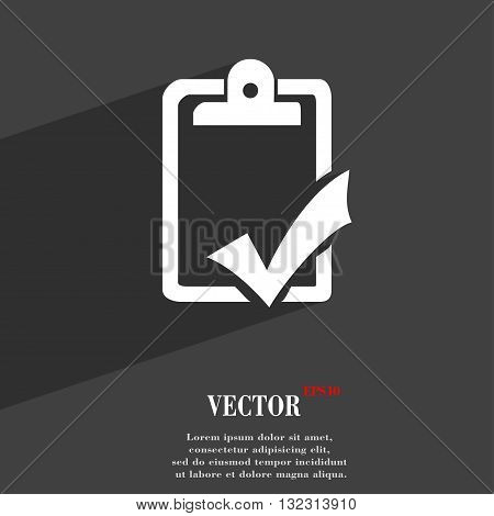 Document Grammar Control, Test, Work Complete Symbol Flat Modern Web Design With Long Shadow And Spa