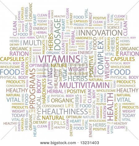 VITAMINS. Word collage on white background. Vector illustration.