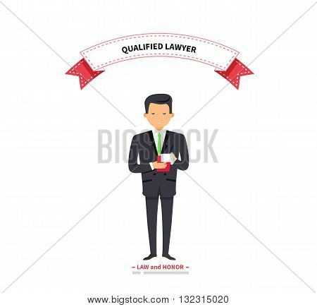 Qualified lawyer man warranty and reliability. Lawyer and attorney, legal businessman, confident lawyer, manager man, job professional executive. Vector illustration