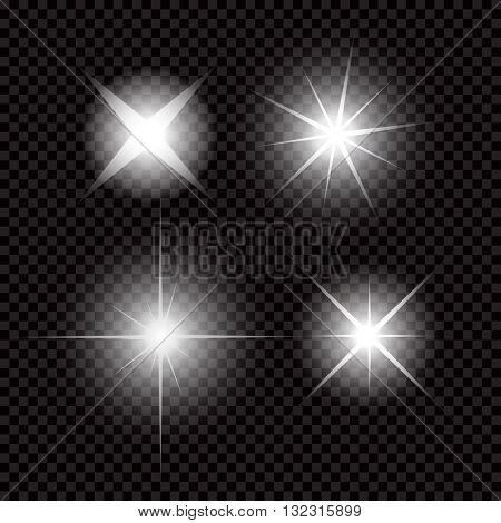 Creative concept Vector set of glow light effect stars bursts with sparkles isolated on black background