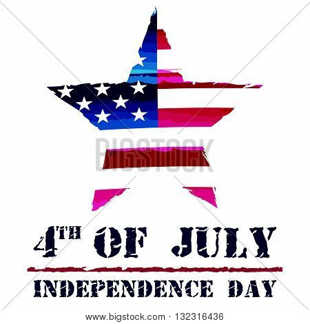 star in USA drawing flag and 4th of July - Independence Day, american holiday concept, vector