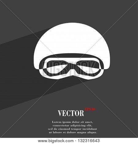 In A Ski Masks, Snowboard Ski Goggles, Diving Mask Symbol Flat Modern Web Design With Long Shadow An