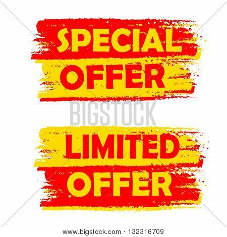 special and limited offer banners - text in yellow and red drawn labels, business shopping concept, vector