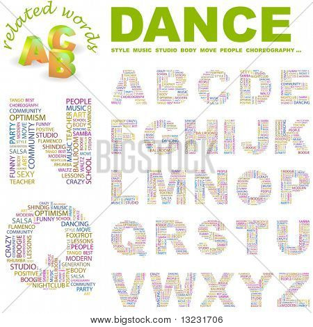 DANCE. Vector letter collection. Wordcloud illustration. poster