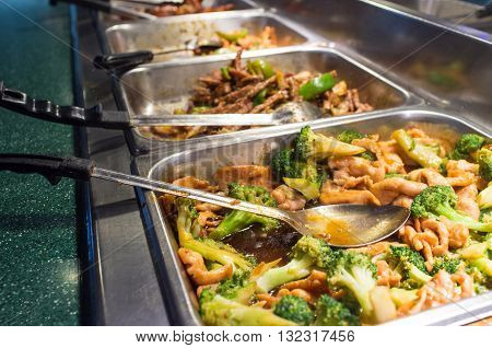 Chinese food buffet self service lunch or dinner