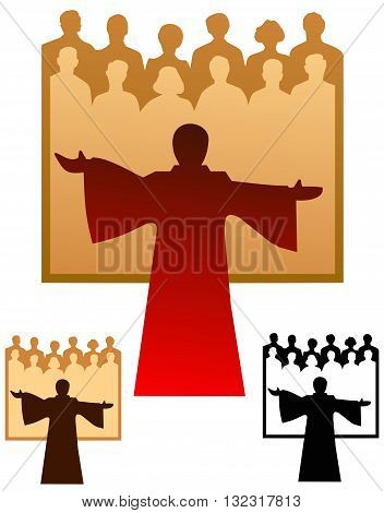 Graphic emblem of a choir, with flat and black only versions.