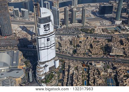 DUBAI, UAE - MAY 20, 2016: aerial view of Dubai from At The Top Burj Khalifa tower