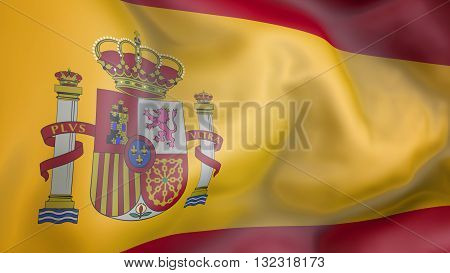 Spain flag waving in the wind 3d rendering