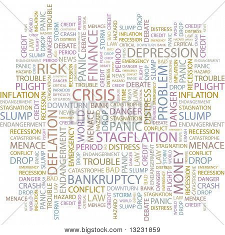 CRISIS. Word collage on white background. Vector illustration.