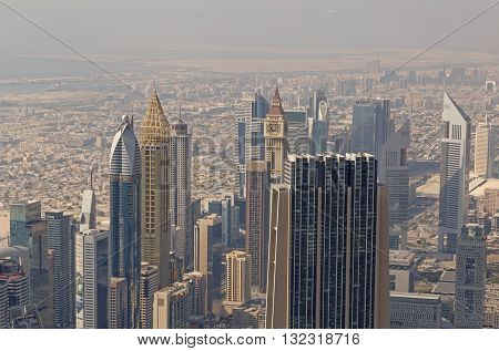 aerial view on skyscrapers of Dubai, UAE