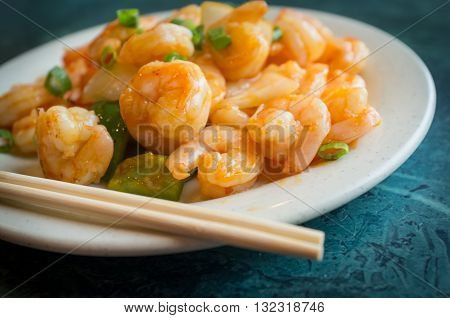 Chinese hot and spicy szechuan shrimp with green onions