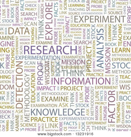 RESEARCH. Seamless vector pattern with word cloud.