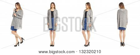Beautiful Young Girl In Fashionable Topcoat Isolated