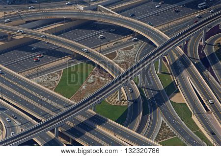 view on road flyover in Dubai, UAE